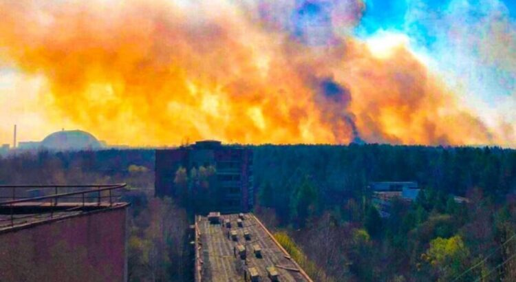 oheň u Černobylu